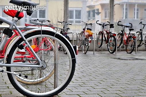 Bike parking in european town.