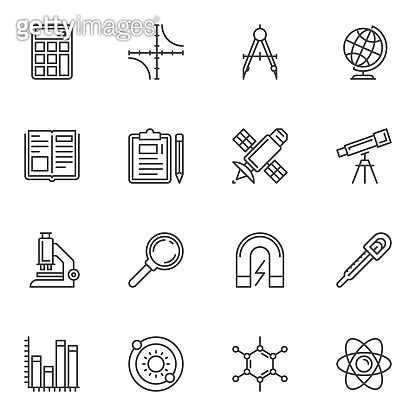 Science and education line icons set