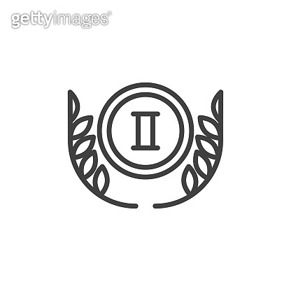 2nd place award medal line icon