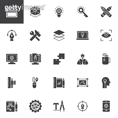 Creative process design vector icons set
