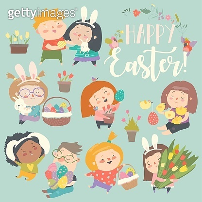 Cute little children with Easter theme. Happy Easter