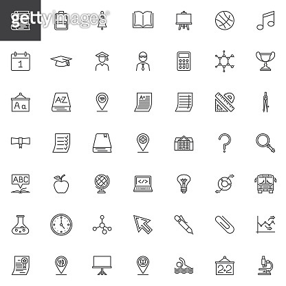 Education and school line icons set