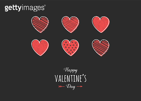 Valentine's Day card with hearts and wishes. Love concept. Vector