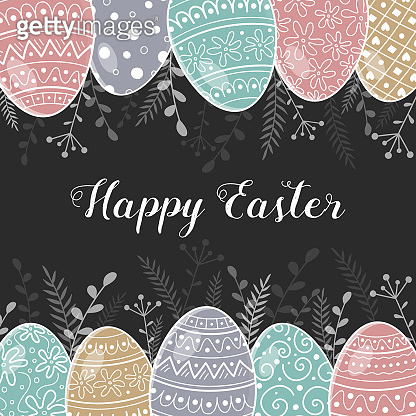 Vintage greeting card with hand drawn Easter eggs. Vector