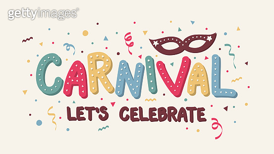 Carnival Party - colorful banner with confetti. Vector