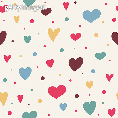 Cute seamless pattern with colorful hand drawn hearts. Valentine's Day, Mother's Day and Women's Day. Vector