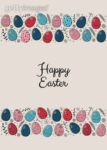 Easter card with decorative eggs and greetings. Vector