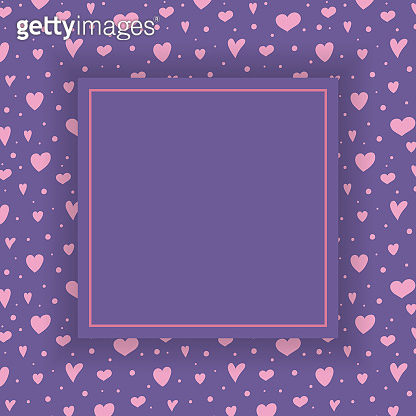 Empty greeting card layout with cute hearts. Valentine's Day, Mother's Day and Women's Day concept. Vector