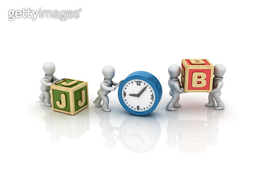 Business People Carrying JOB Buzzword Cubes with Clock - 3D Rendering