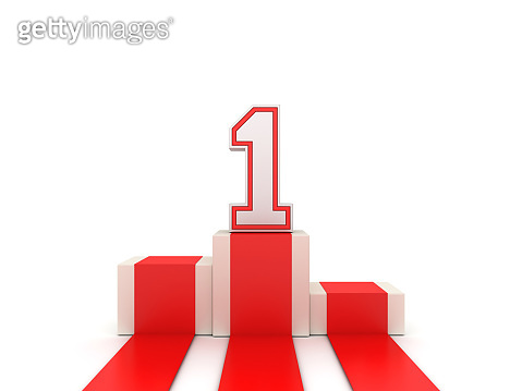 Podium with Number 1 - 3D Rendering