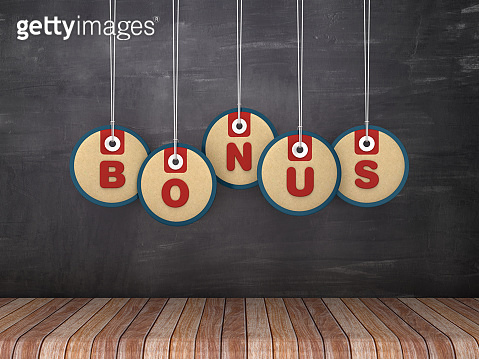 BONUS Price Tags Hanging on Chalkboard Background - 3D Rendering
