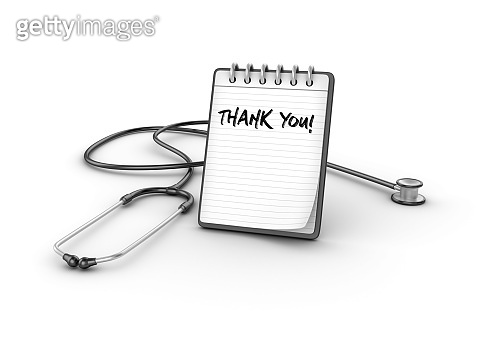 Stethoscope with THANK YOU Note Pad  - 3D Rendering