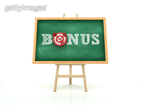 Easel with BONUS Word and Target on Chalkboard Frame - 3D Rendering