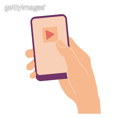 Hand holding smart phone with media player app