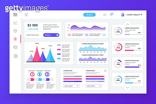 Dashboard admin panel vector design template with infographic elements
