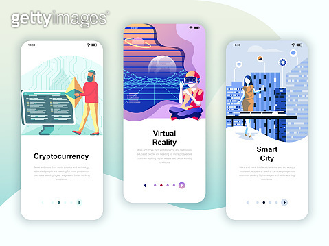 Set of onboarding screens user interface kit for Cryptocurrency, Smart City, Virtual Reality, mobile app templates