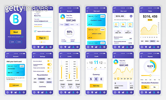 Set of UI, UX, GUI screens Banking app flat design template for mobile apps