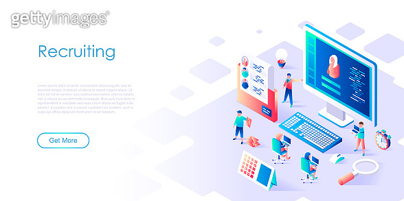 Modern flat design isometric concept of Recruiting for banner and website.