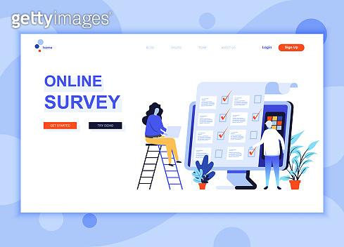 Modern flat web page design template concept of Online Survey
