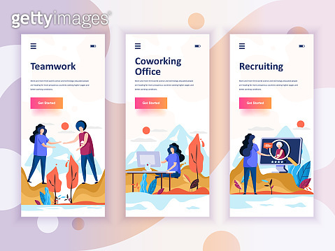 Set of onboarding screens user interface kit for Teamwork, Coworking Office, Recruiting, mobile app templates