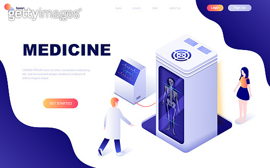 Modern flat design isometric concept of Medicine and Healthcare decorated people character