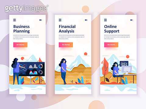 Set of onboarding screens user interface kit for Planning, Financial Analysis, Support, mobile app templates
