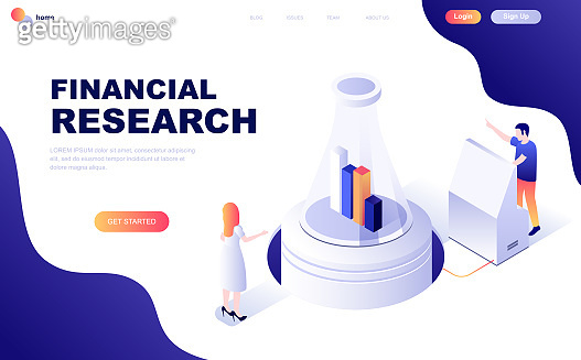 Modern flat design isometric concept of Financial Research decorated people character