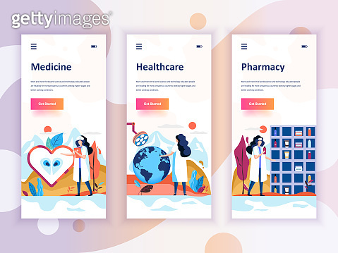 Set of onboarding screens user interface kit for Medicine, Healthcare, Pharmacy, mobile app templates
