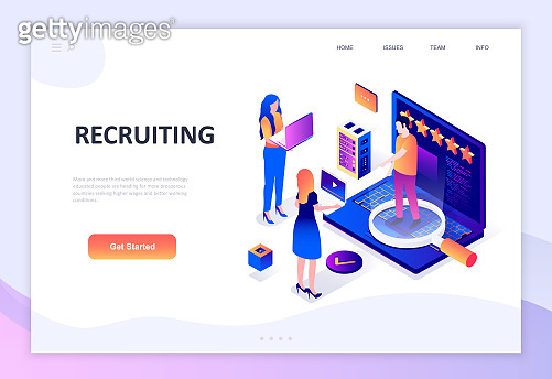 Modern flat design isometric concept of Recruiting decorated people character