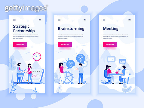 Set of onboarding screens user interface kit for Partnership, Brainstorming, Meeting, mobile app templates