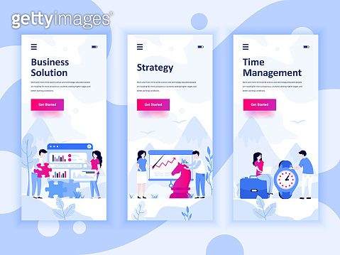 Set of onboarding screens user interface kit for Solution, Strategy, Time Management, mobile app templates