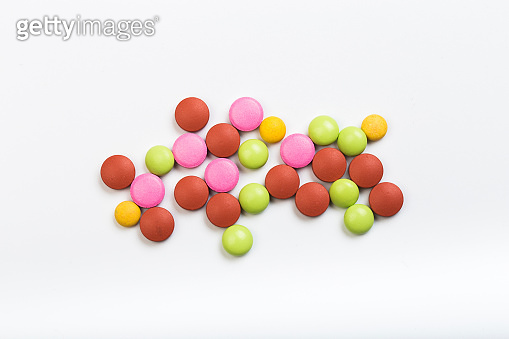 set of multi-colored tablets  on a white background - Image