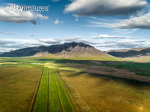 Aerial view of dramatic landscape in Iceland