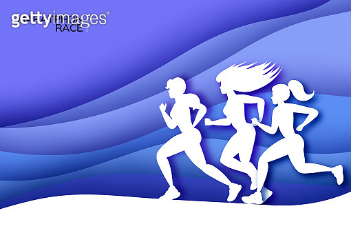 White origami young lady running. Happy fitness woman in paper cut style. Woman runner in silhouette on blue wave background. Gogging. Sport Marathon. Dynamic movement. Side view.