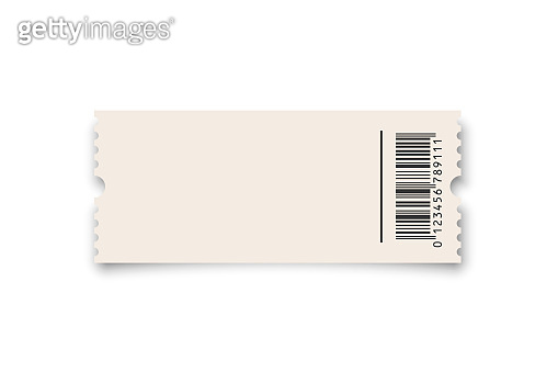White ticket or coupon with barcode template isolated on white background. Vector design element.
