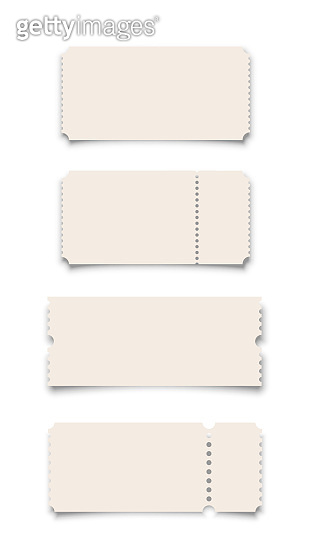 White ticket or coupon templates set isolated on white background. Vector design elements.
