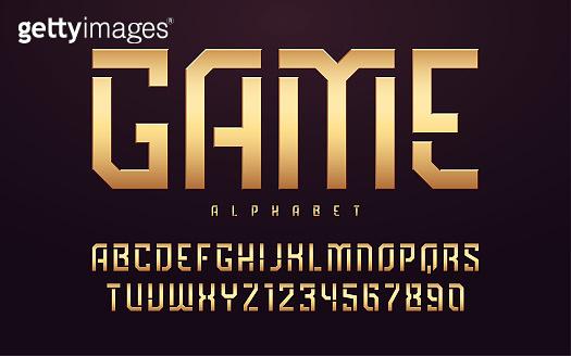 Stylized glossy golden uppercase letters, alphabet, typeface, font.