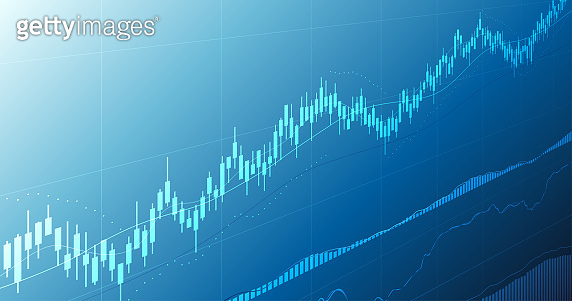 Widescreen Abstract financial graph with uptrend line and candlestick chart of stock market in blue color background