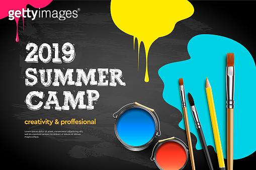 Themed Summer Camp poster 2019. Kids art craft, education, creativity class concept, vector illustration.