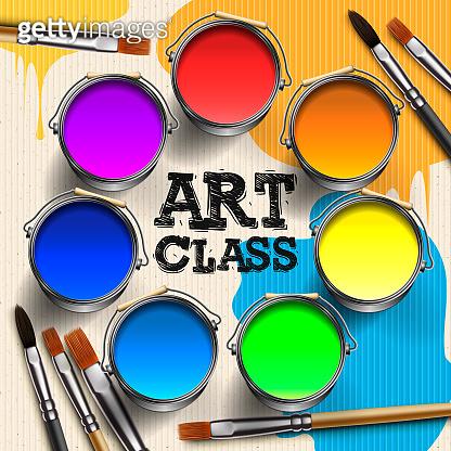Art Class, Workshop Template Design. Kids art craft, education, creativity class concept, vector illustration.