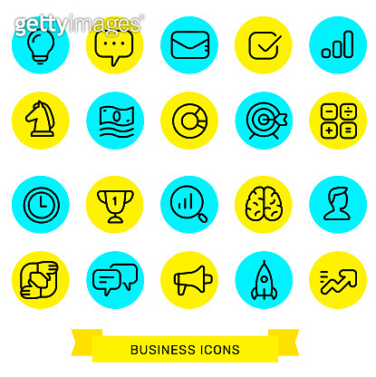 Vector set of simple business graphic color icon isolated on white background. Collection of marketing, startup, communication, idea icon.