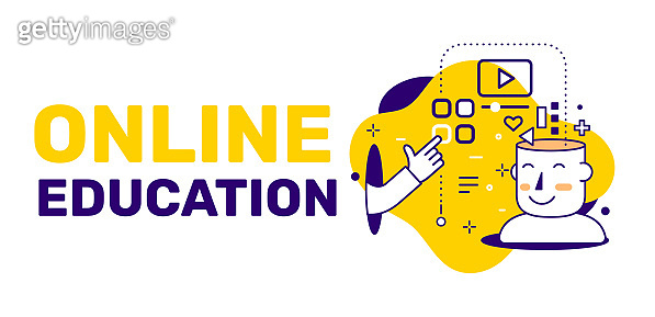 Vector creative illustration of online education and open head of man, icon on yellow background with text.