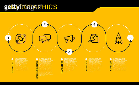 Vector infographic template with number track options and steps with business icons on yellow background with text.