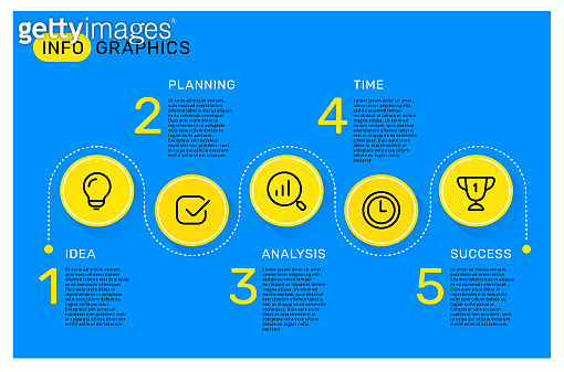 Vector infographic template with circle, business words, icons, steps and options on blue color background with text.