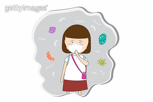 Schoolgirl wear masks N95 to prevent air pollution in the city PM 2.5 in dust meter. Such as dust, smoke and smell Concept flat style vector illustration environmental impact.-EPS 10