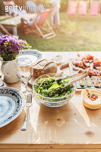 Table set for outdoor family dining