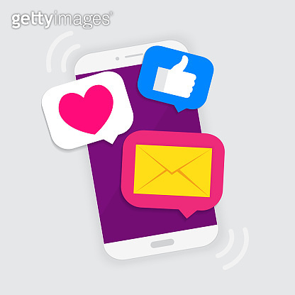 social media notification on the smartphone, vector illustration
