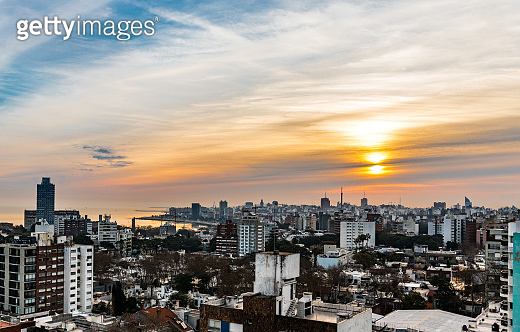 Sunset in Montevideo (the capital of Uruguay, South America)
