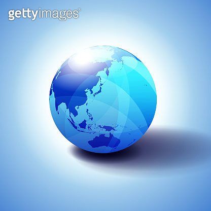 China, Japan, Malaysia, Thailand, Indonesia, Australia, Asia, Globe Icon 3D illustration, Glossy, Shiny Sphere with Global Map in Subtle Blues giving a transparent feel