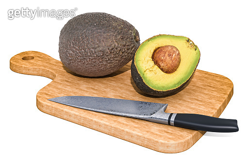 Avocado lies on a wooden board next to a knife, 3D rendering isolated on white background